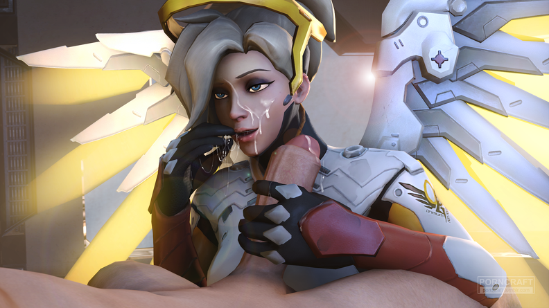 Mercy covered with jizz