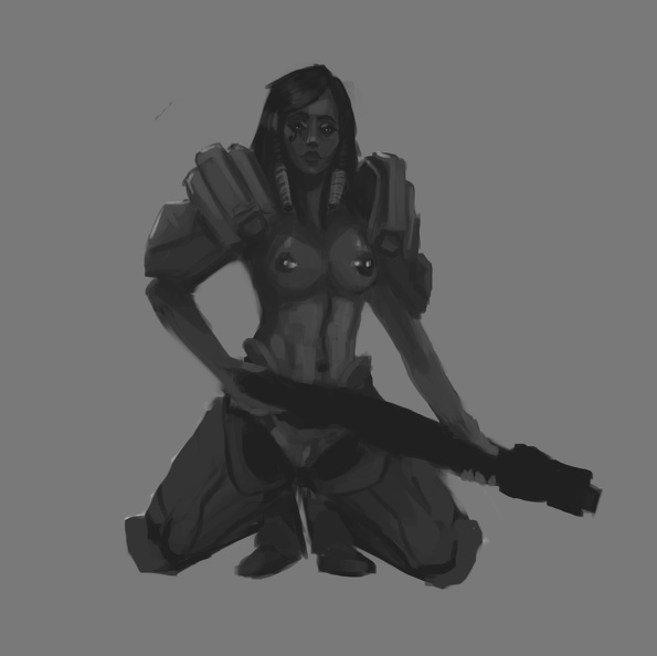 Pharah black and white naked