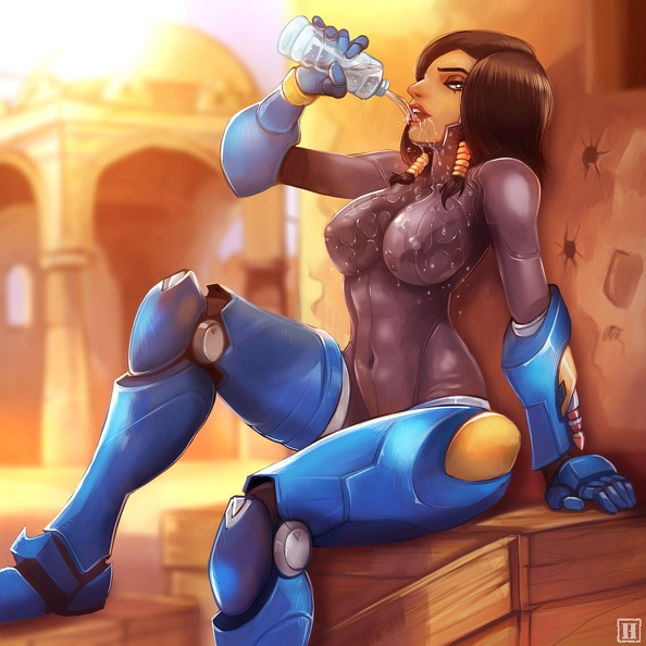 Pharah drinking fresh water