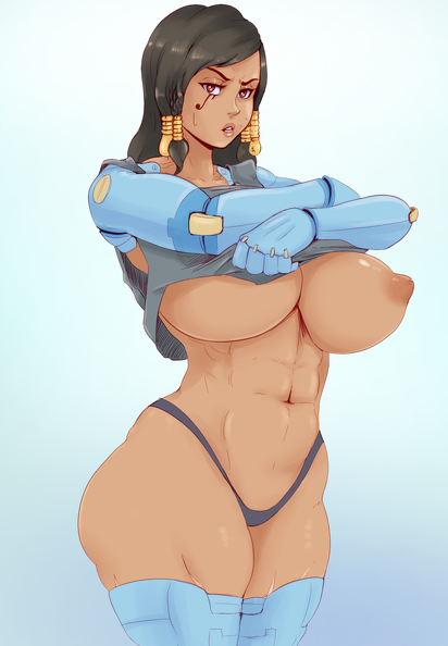big tits Pharah undressing