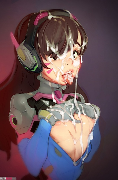 d.va covered in jizz