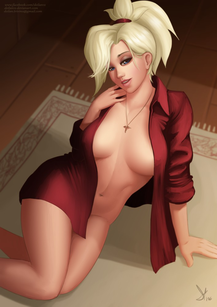 Sexy Red Shirt Mercy Waiting for Cock