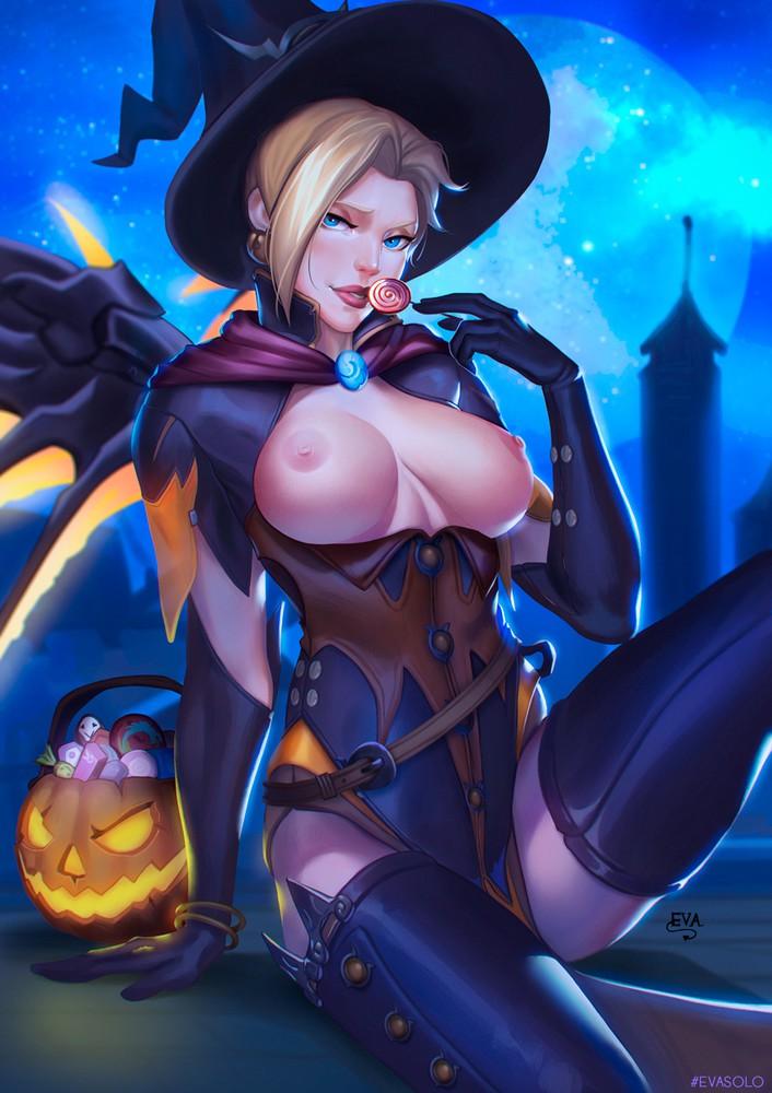 Big Boobs Halloween Mercy Showing off
