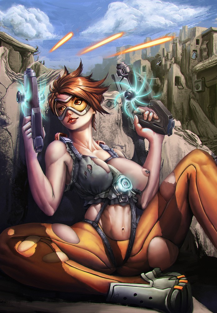 Busty Tracer on the Battlefield