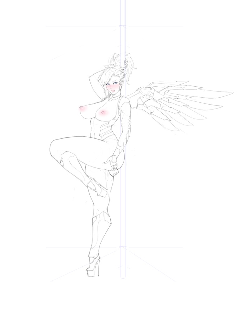 Pole Dancer Mercy With Big Tits Sketch